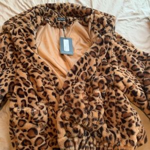 Cheetah over sized faux fur bomber